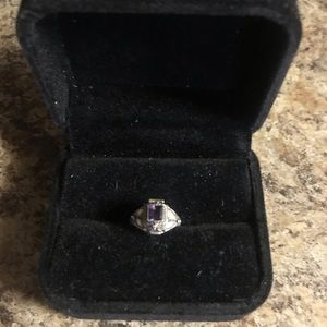Vintage Sterling Silver Amethyst Poison Ring